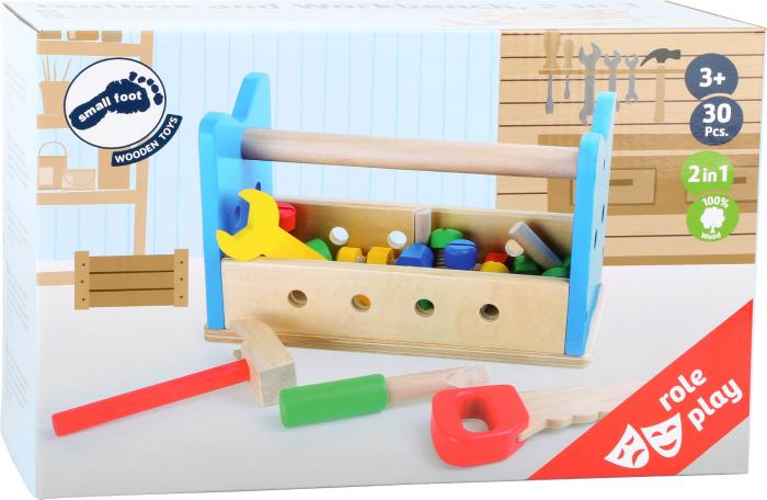 Bancuta si cutie de scule, set de lemn 2 in 1 2