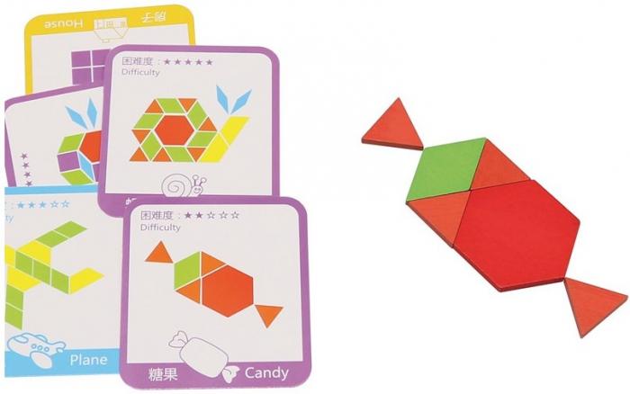 Tangram-joc din lemn pentru dezvoltarea imaginatiei cu 155 de piese [2]
