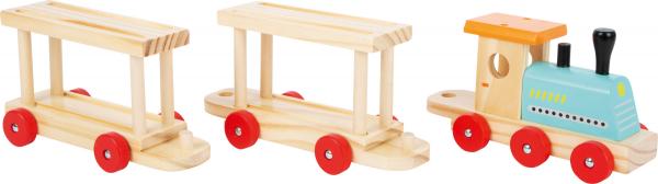 Trenul cu 8 masinute din lemn 3