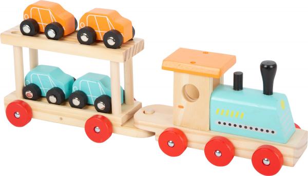 Trenul cu 8 masinute din lemn 6