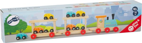 Trenul cu 8 masinute din lemn 5