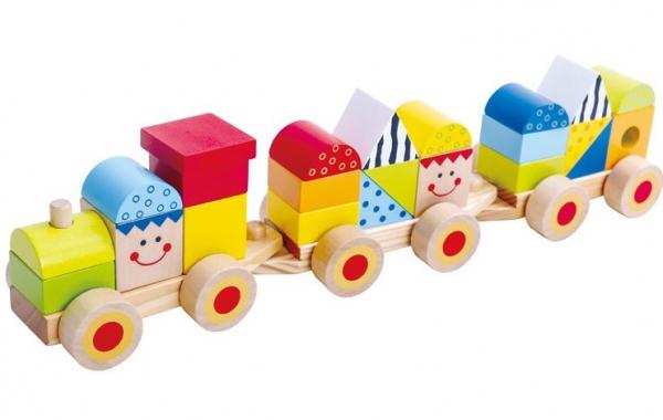 Trenulet din lemn cu fete zambitoare, 26 piese 2