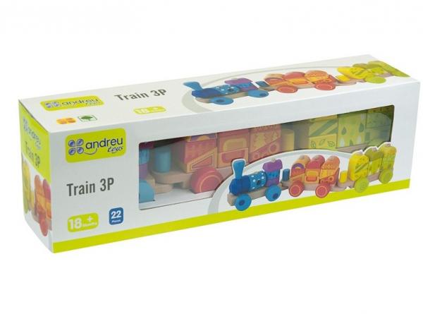 Trenulet multicolor din lemn 2