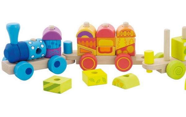 Trenulet multicolor din lemn 0