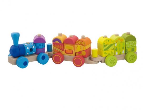 Trenulet multicolor din lemn 1