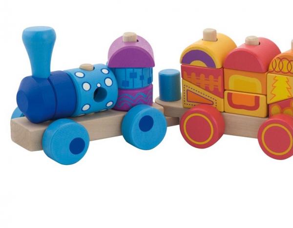 Trenulet multicolor din lemn 3