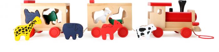 Zootrenul, jucarie potrivire forme animale din lemn 3