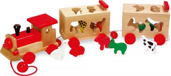 Zootrenul, jucarie potrivire forme animale din lemn 0