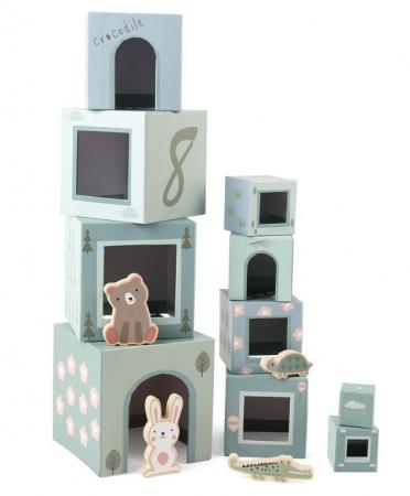 10 cuburi de stivuit cu 4 figurine lemn [0]