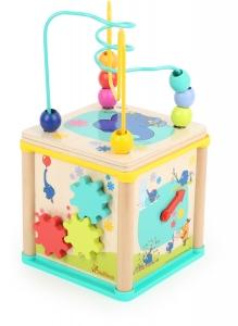 Cub din lemn cu 5 activitati educative Elefant si Soricel3