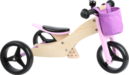 2 in 1 Tricicleta si Bicicleta de echilibru din lemn, Mov0