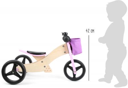 2 in 1 Tricicleta si Bicicleta de echilibru din lemn, Mov3