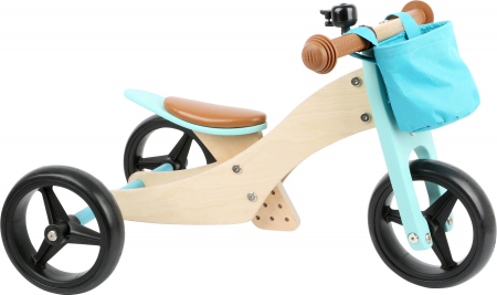 2 in 1 Tricicleta si Bicicleta de echilibru din lemn, Albastru0