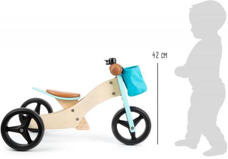 2 in 1 Tricicleta si Bicicleta de echilibru din lemn, Albastru4