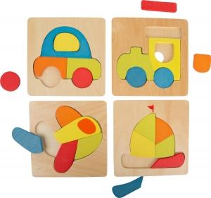 Set 4 puzzle-uri vehicule din lemn0
