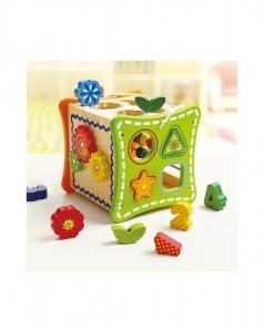 Cubul cu Flori, 5 activitati educative,12 forme, numaratoare si rotite interconectate3