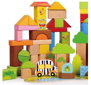 Cutie mare cu 110 cuburi lemn Aventuri in Jungla2