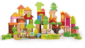 Cutie mare cu 110 cuburi lemn Aventuri in Jungla0