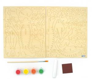Schelet de crocodil, joc de pictat si asamblat, din lemn1