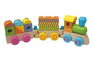 Trenuletul colorat din lemn cu 15 cuburi si roti cu animalute [0]