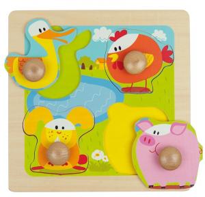 4 animale, puzzle cu butoane mari, lemn0