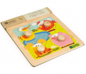 4 animale, puzzle cu butoane mari, lemn2