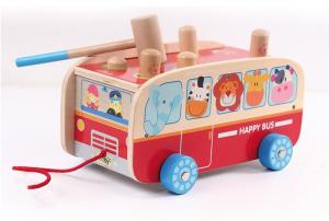 Autobuzul cu animale, 2 in 1, joc cu ciocanel si de tras2