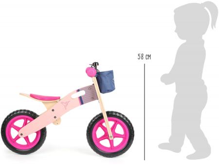 Bicicleta de echilibru din lemn Colibri in accente roz neon [3]