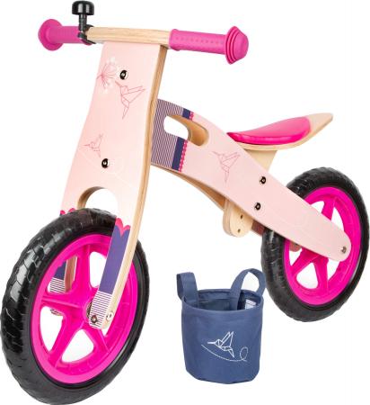 Bicicleta de echilibru din lemn Colibri in accente roz neon [0]