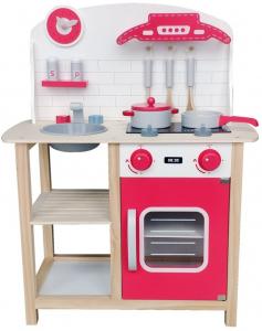 Bucataria rosie din lemn pentru 2 copii, 75.5 cm inaltime0