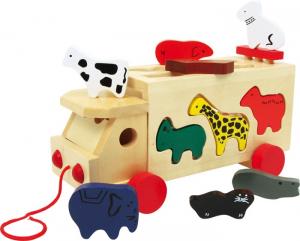 Camion de tras din lemn cu forme animale0