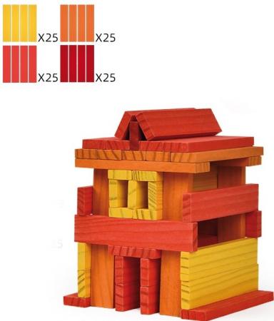 City Blocks-cuburi de lemn pentru construit, culori calde [1]