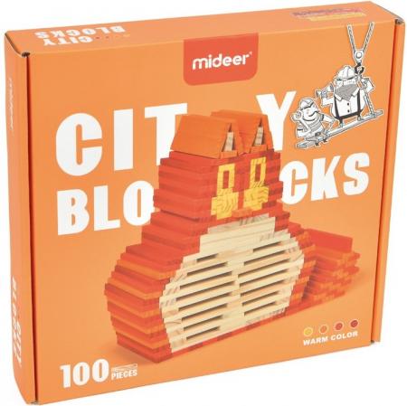 City Blocks-cuburi de lemn pentru construit, culori calde [0]
