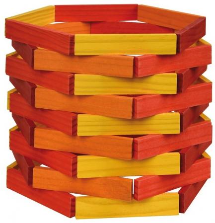 City Blocks-cuburi de lemn pentru construit, culori calde [5]