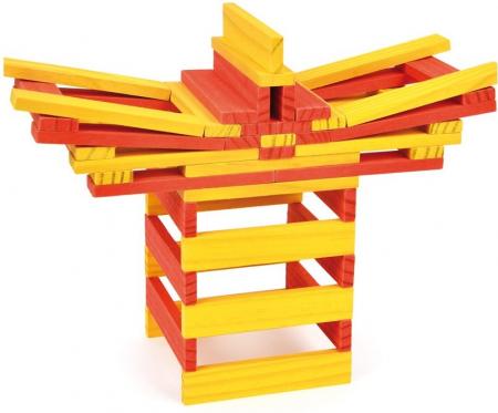 City Blocks-cuburi de lemn pentru construit, culori calde [2]