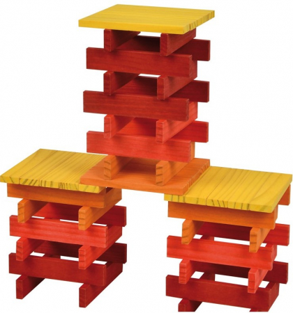 City Blocks-cuburi de lemn pentru construit, culori calde [6]