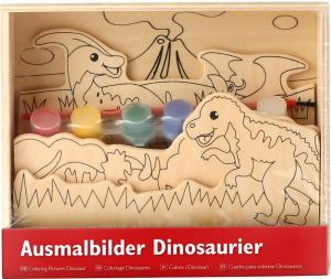 Coloreaza dinozaurii, set de pictura din lemn1