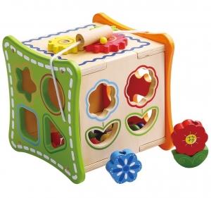 Cubul cu Flori, 5 activitati educative,12 forme, numaratoare si rotite interconectate0