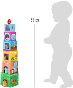 Cuburi de construit cu 6 figurine animale6