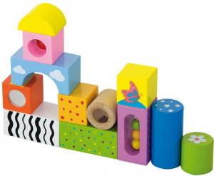 Cuburi de construit cu sunete si animalute, pentru dezvoltarea senzoriala, set de 121