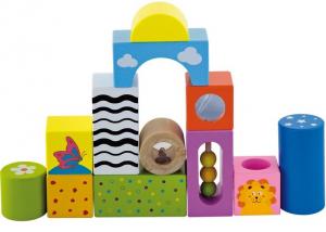 Cuburi de construit cu sunete si animalute, pentru dezvoltarea senzoriala, set de 123