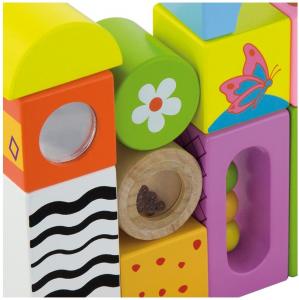 Cuburi de construit cu sunete si animalute, pentru dezvoltarea senzoriala, set de 124