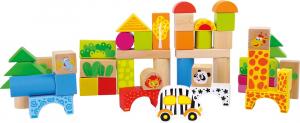 Galetusa cu 50 cuburi de construit din lemn Zoo1