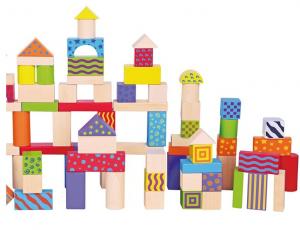 Galetusa cu 100 de cuburi de lemn, multicolore0