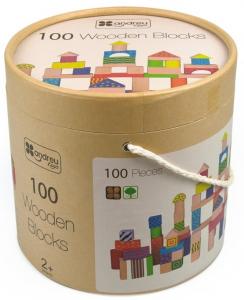 Galetusa cu 100 de cuburi de lemn, multicolore4