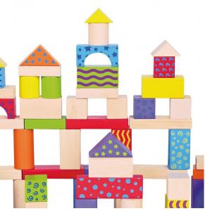 Galetusa cu 100 de cuburi de lemn, multicolore3