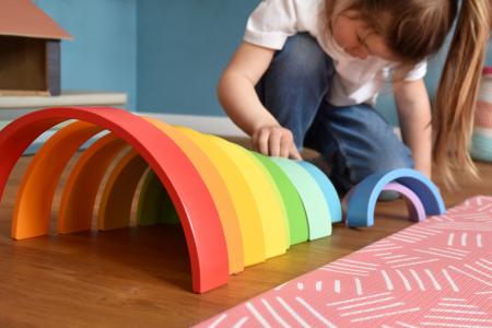 Forme de construit Curcubeu Montessori de dimensiuni extra-large, din lemn [9]