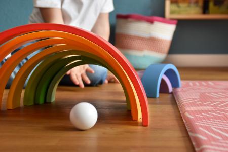 Forme de construit Curcubeu Montessori de dimensiuni extra-large, din lemn [10]