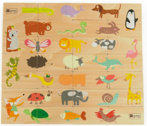 Joc de lemn 2 in 1, puzzle domino cu animale0