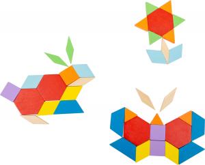 Joc Puzzle Tangram Multicolor din lemn1